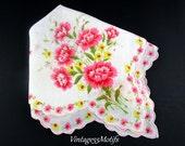 Handkerchief Pink Carnation Printed Vintage