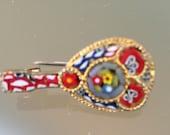 Italian Micro Mosaic Brooch / Pin in the shape of a Mandolin