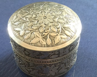Lovely Silver Pill Box with Floral  Decoration c 1920