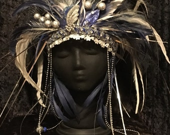 "Tribal Gypsy Goddess Feather Headdress Crown ""Hera"""