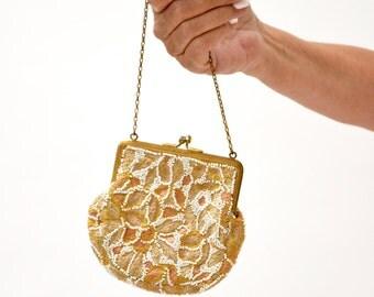 VIntage Beaded Handbag Purse Bag// Vintage Art Deco Beaded Embroidered Evening Bag Coin Purse Wedding Bag White and Cream
