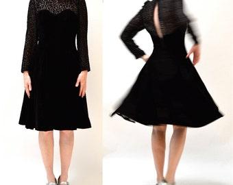 Vintage Black Velvet Dress Size Medium Large with Crinoline Skirt  // 90s Black Illusion Dress// Black Holiday Party Dress