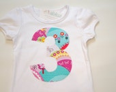 3rd Birthday Shirt, Girls Third Birthday Tee, Applique Number 3 Shirt, Pink Blue Yellow, Spring Tshirt, Ready to Ship 3T Short Sleeve White