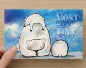Holiday Card Christmas Card Whimsical Polar Bear Greeting Card Blue and White Most Wonderful Time of the Year Cute Card
