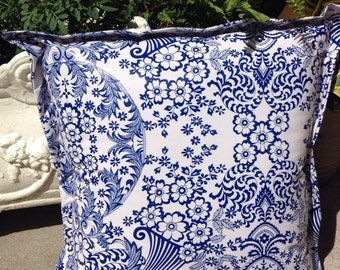 Blue toile oilcloth pillow cover