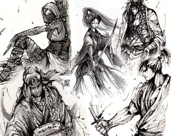 """5 piece PRINT SET 5""""x7"""" Mycks Ink Sketch series Samurai Ninja set"""