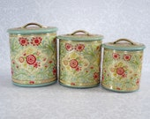 Retro Nesting Kitchen Canisters Set of 3  /  Vintage Holland Tin Storage Canister Set / MCM Floral Nesting Kitchen Tins