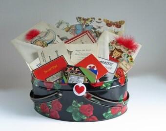 Biscuit Tin full of Vintage Ephemera, Black Storage Tin w Red Roses, Vintage Rose Tin By Dutch Maid, Oval Handled Storage Tin