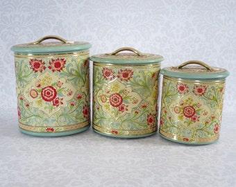 Retro Nesting Kitchen Canisters Set of 3  /  Vintage Holland Tin Storage Canister Set / MCM Floral Nesting Kitchen Tins