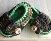 Camo Baby Booties - Baby Shoes - Camo -Made to Order baby camo shoes baby loafers baby booties camouflage baby shoes handmade