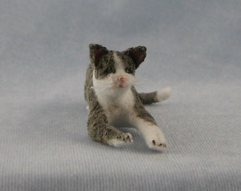 Grey and White Miniature Cat by Marie W. Evans