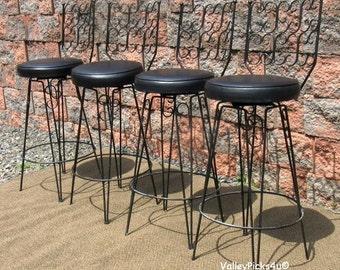 Vintage Mid Century Modern Arthur Umanoff Metal Swivel Bar Stools Seats Chairs