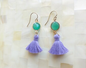 Faceted Green Onyx Vermeil Bezel Connectors & Lilac Purple Cotton Tassel Dangle Earrings (E1254)