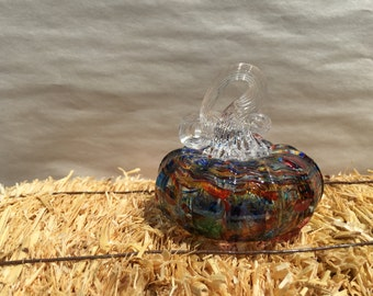 Hand- blown glass pumpkins, made in Corning NY,multi color clear stem
