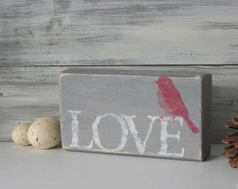Love Block, home decor, OOAK, Country chic, Small gift, red, gray, white, urban chic