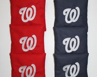WASHINGTON NATIONALS Cornhole ACA Regulation Bean Corn Toss Bags Embroidered