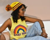 90s 80s canary orange yellow striped poof ball beanie hat