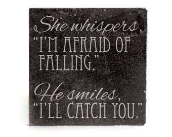 Coasters Set of 4 - black granite laser - 9949 She Whispers, He Smiles