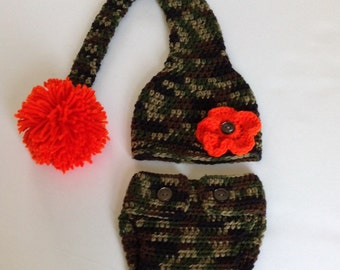 Baby Set - Camoflauge/Hunter/Army Stocking Hat and Diaper Cover (fits 0-3, 3-6 months, 6-9 months, 9-12 months)