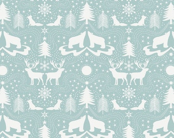 Arctic Animals on Icy Blue (Metallic)  C5.3 - NORTHERN LIGHTS - Lewis and Irene Fabrics - By the Yard