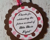Favor Tags - Baby Shower - Pink and Brown decor - favor tags - thank you tags - polka dot tags - party decor - 1st birthday decor