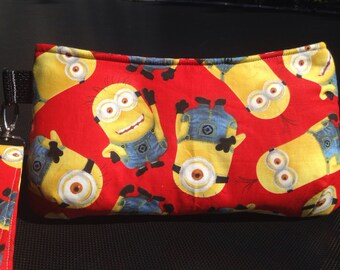 Coraline wristlet/clutch in red and yellow Minion print, handmade handbag, removable wrist strap, gadget bag