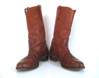 Vintage Hanover Brown Leather Boots // Made in USA // Men's Size 10.5 // Pull On // Motorcycle Boots // Cowboy Boots // Campus Boots