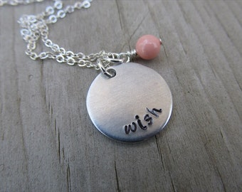 "Wish Inspiration Necklace- ""wish"" with an accent bead in your choice of colors- Hand-Stamped Jewelry"