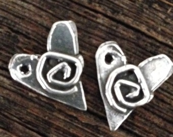 NEW Sterling Silver Rustic Heart Charms - 2 Boho Artisan - Handcrafted Hearts Swirled with Spirals  13.3mm AC211