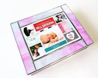 "Stained Glass Keepsake Box Baby's First Birthday Birth Announcement Gift Box Custom Made-to-Order 7""x9""x2"""