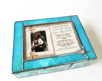Stained Glass Keepsake Gift Box 7x9x2 Wedding Invitation Bride Groom Picture Beach Wedding Starfish Custom Made
