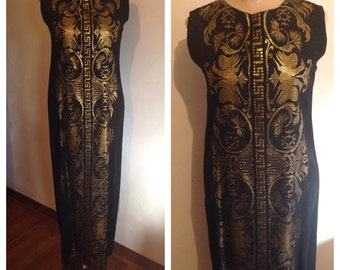 Vintage 60s grecian gold embroidered maxi dress