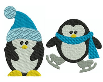 PENGUIN 3 - Machine Filled Embroidery - 2 Patterns in 2 Sizes - Instant Digital Download