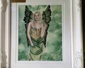 "SALE: Framed Fairy Art Print, Fantasy Artwork, ""Meadowsweet"" Herb Faeries, White Frame, Corset, Flower Faery, Jacqueline Collen-Tarrolly"