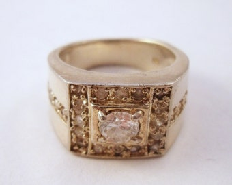Vintage chunky sterling ring with rhinestones