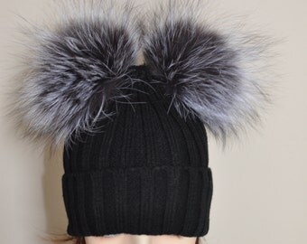 Kylie Jenner Beanie Hat with 4 Fur pompoms Ribbed Beanie Black Hat Double Bobbles Black hat Christmas Gift under 100