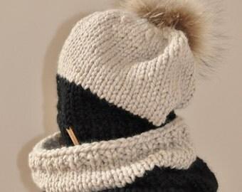 Hat Scarf Set Two Tone Pom Pom Hat CHOOSE COLOR Black Raccoon Fur Pom Pom Beanie Christmas Gift