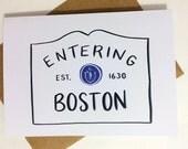 Entering Boston  or ANY Massachusetts City/Town!** - Blank Card