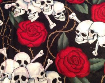Rose and Skulls Welder Hat Cap Liner