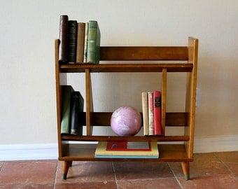 Vintage Mid Century Wooden Book Shelf, Free Standing, Side Book Shelf