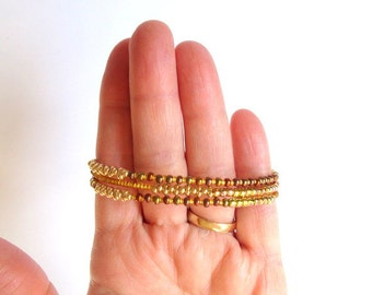 Gold Beaded Wrap Bracelet, Memory Wire Gold Bracelet, Gold Coil Bracelet, Metallic Gold Bead Bracelet, Arm Candy, Gold Bronze Stacked Cuff