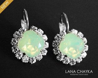 Mint Green Opal Crystal Halo Earrings Swarovski Chrysolite Opal Rhinestone Sparkly Earrings Chrysolite Leverback Wedding Jewelry Bridesmaids
