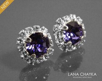 Tanzanite Crystal Halo Earrings Swarovski Tanzanite Rhinestone Earring Studs Violet Bridesmaids Earrings Tanzanite Sparkly Halo Earrings