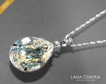 Moonlight Crystal Necklace Swarovski Moonlight Rhinestone Pendant Sterling Silver Teardrop Crystal Necklace Bridal Necklace Wedding Jewelry