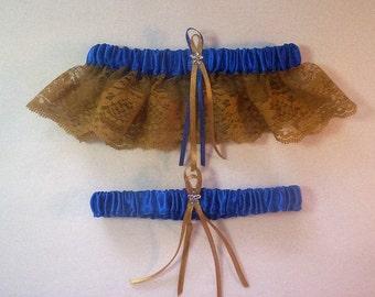Horizon Blue Satin / Gold Lace - 2 Piece Wedding Garter Set - 1 To Keep / 1 To Throw