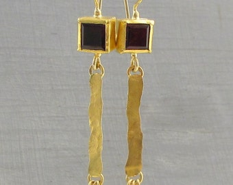 Garnet Gold Earrings - 24k Gold Earrings with Garnet - Solid Gold Earrings