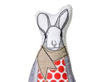 Hipster rabbit , Easter Bunny doll , easter basket toy , easter gift , Easter ornament , sculpture doll , hipster animal , book shelf decor