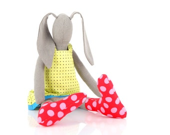 Eco friendly doll , Plush olive bunny - rabbit in green dress & red pink Polka Dots socks , Stuffed bunny rabbit hare toy softie animal toy