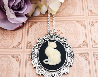 Black Ivory Cat Cameo Necklace