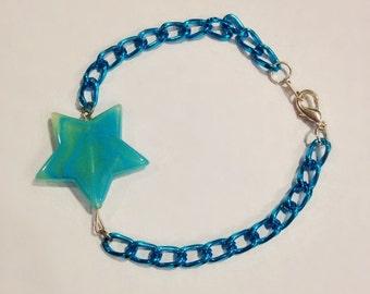 The Elizabeth Bracelet | Minimalist Star Bracelet | Blue Star Bracelet | Pearlesque Star Bracelet | Turquoise Chain Bracelet | Blue Bracelet